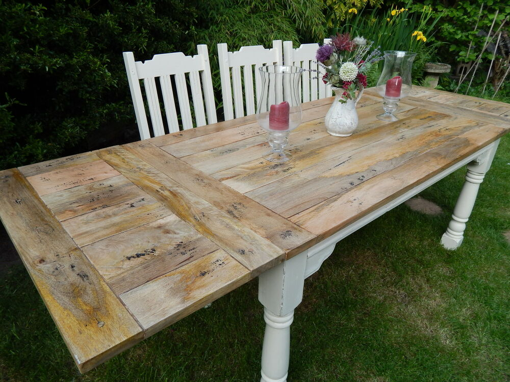 Large Shabby Chic Rustic Farmhouse Oak Kitchen Dining