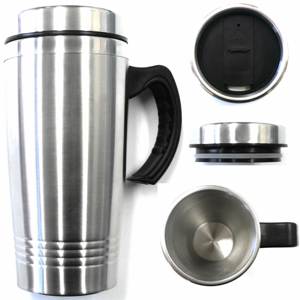 16oz double wall stainless steel coffee cup w handle thermos travel mug tumbler ebay. Black Bedroom Furniture Sets. Home Design Ideas