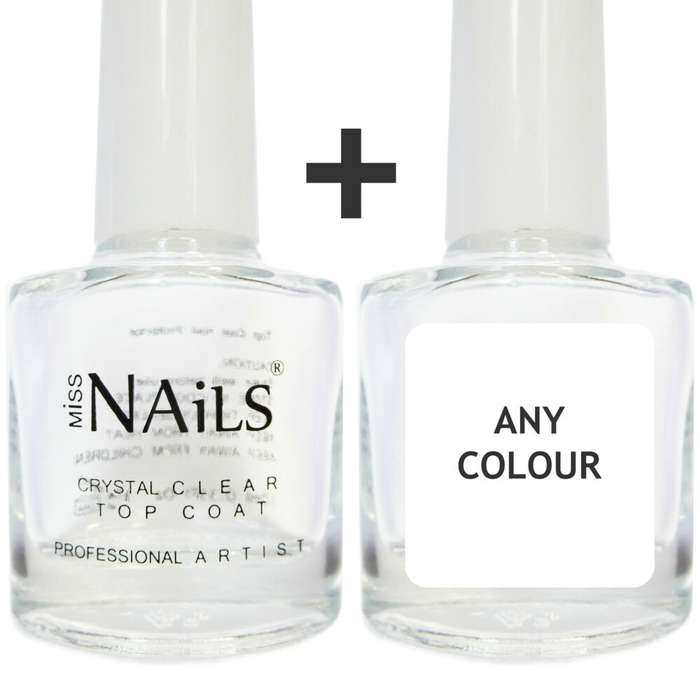 Crystal Clear Top Coat + 1 Colour Nail