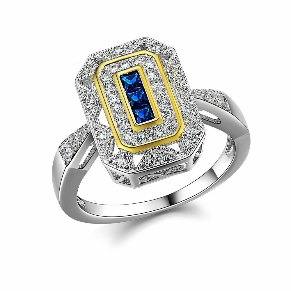 Vintage Princess Blue Sapphire 925 Sterling Silver Yellow