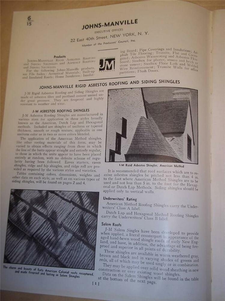 Vtg johns manville catalog insert pages asbestos roofing for Philip carey asbestos