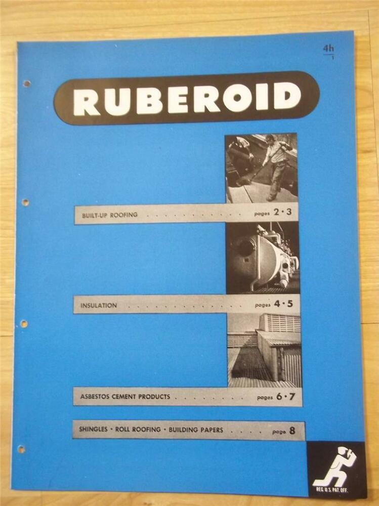 Ruberoid co catalog asbestos pipe insulation paper roofing for Philip carey asbestos