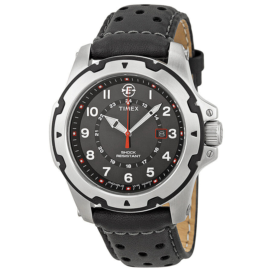 timex expedition rugged field black black leather