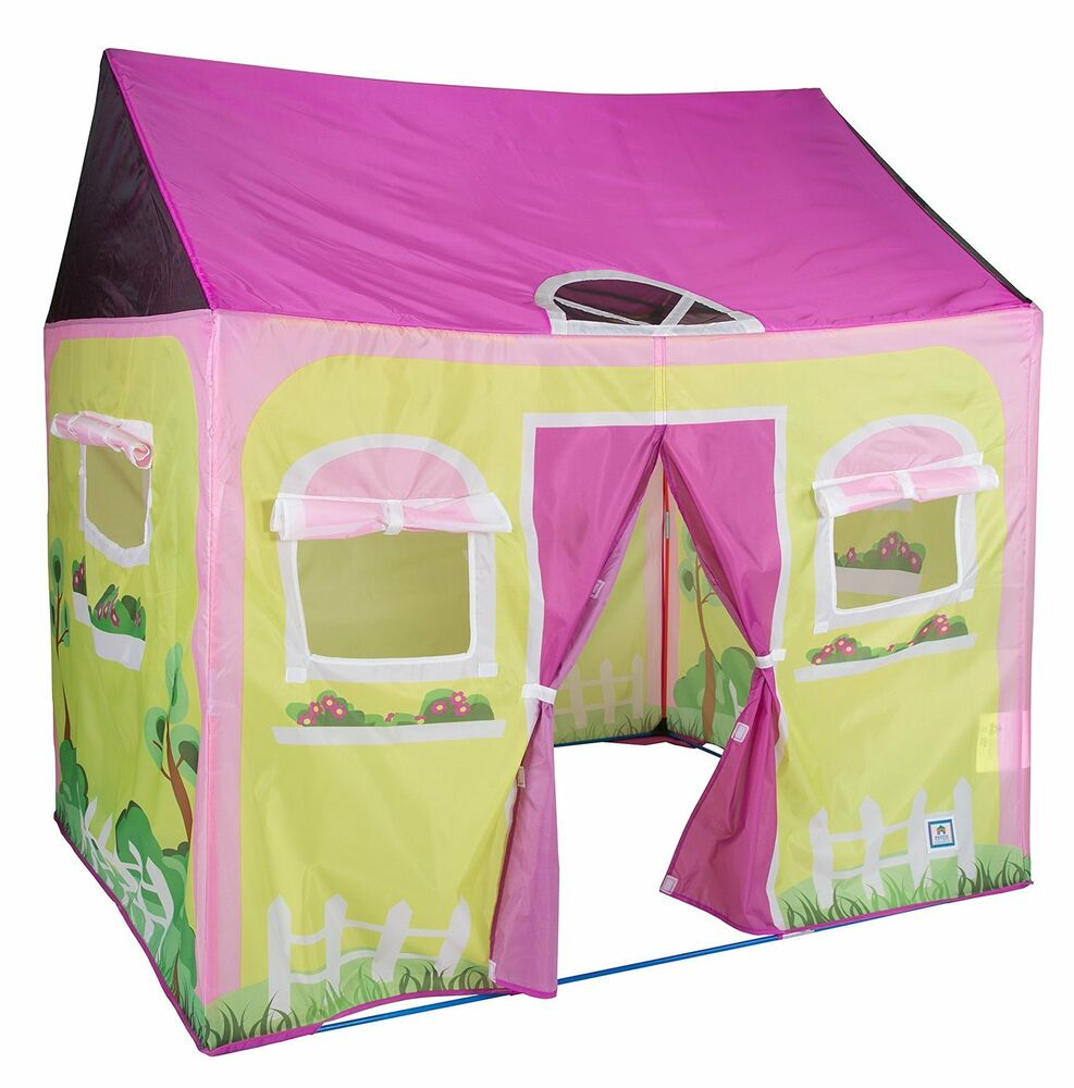 Pacific play tents indoor outdoor cottage play house tent for Tent over house
