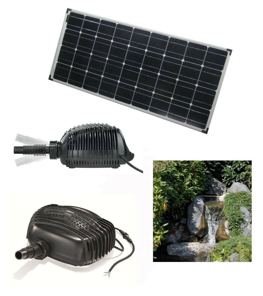 100w solar bachlaufpumpe teichpumpe solarpumpe wasserfall. Black Bedroom Furniture Sets. Home Design Ideas