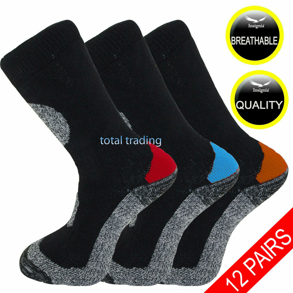 12 pairs mens ultimate work boot socks cushion sole