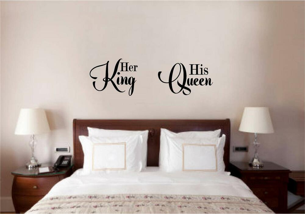 Her king his queen love vinyl decal wall decor sticker words lettering quote art ebay