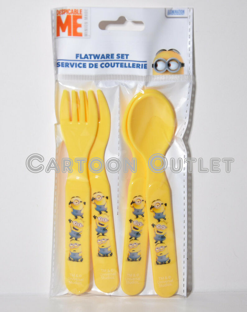 despicable me minions spoon and fork set 4 pieces flatware set bpa free zak set ebay. Black Bedroom Furniture Sets. Home Design Ideas