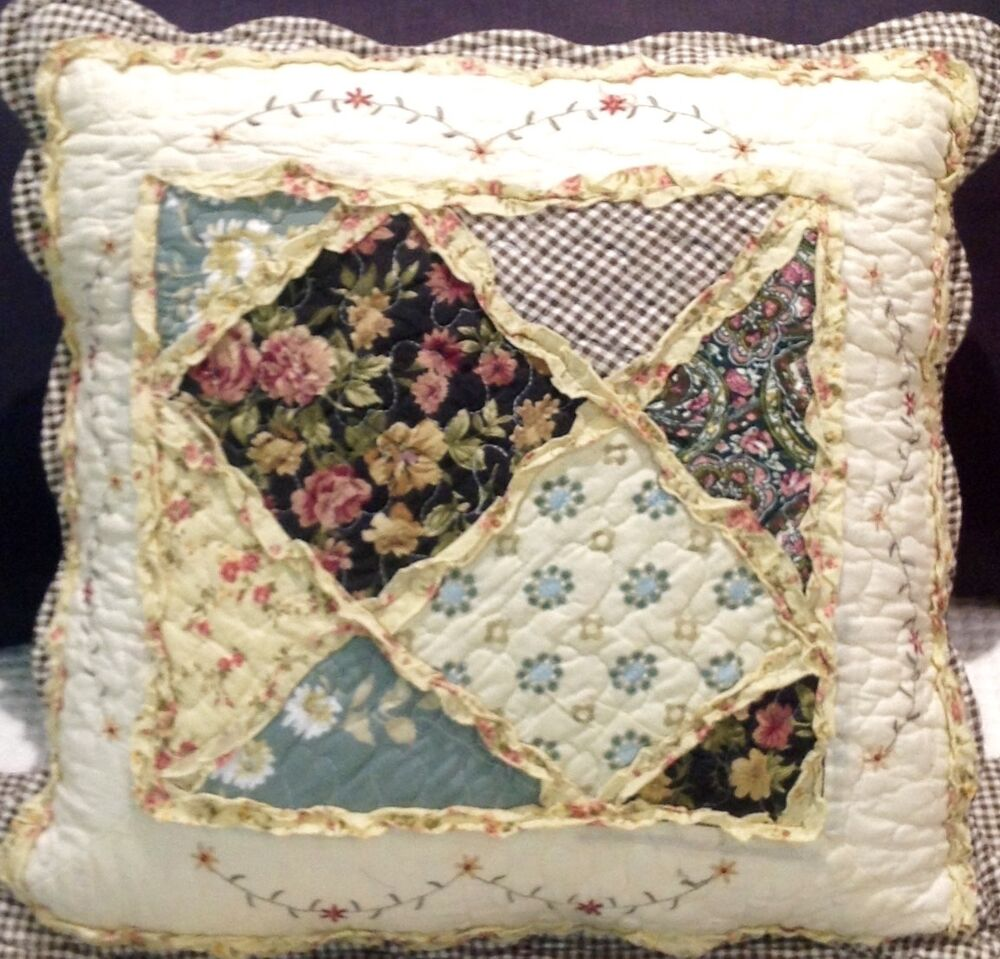 Shabby Chic Cushion / Pillow Cover Pink Cream Brown Black Patchwork Country 45cm eBay