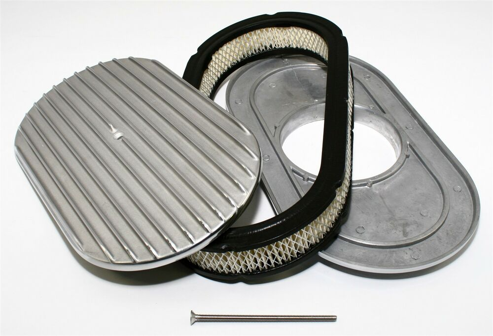 Engine Air Cleaner 15 : Quot oval shaped air cleaner filter retro finned aluminum