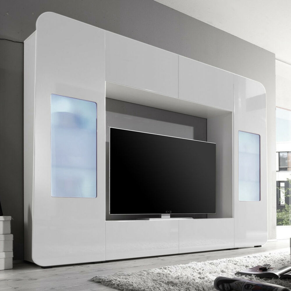 mediawand kino 2 wohnwand mediacenter wei hochglanz mit. Black Bedroom Furniture Sets. Home Design Ideas
