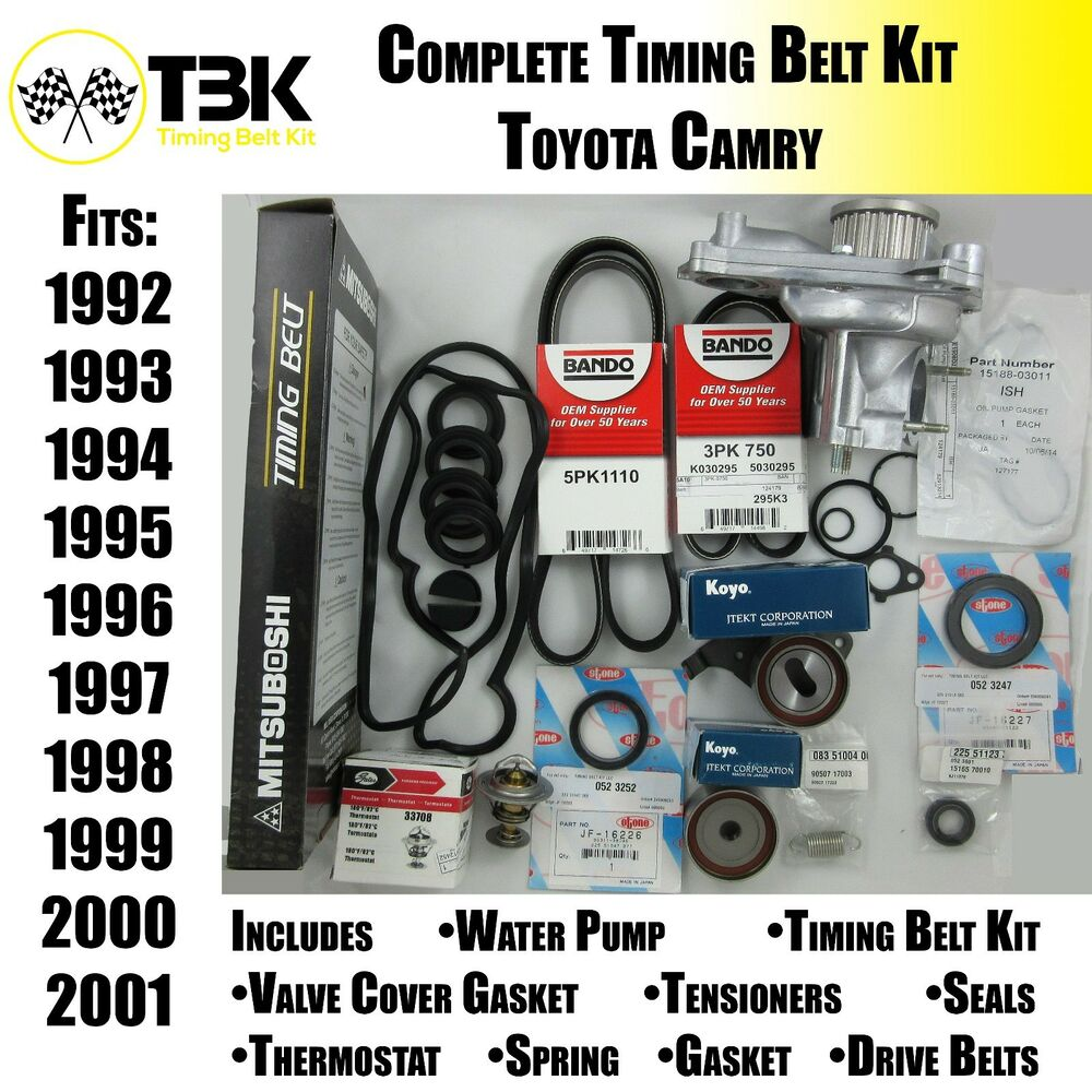 toyota camry timing belt kit complete with water pump fits 4 cyl engines all. Black Bedroom Furniture Sets. Home Design Ideas