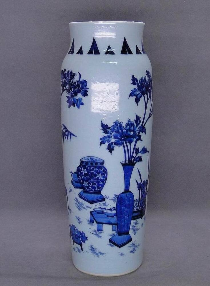 chinese qing dynasty blue and white sleeve vase ebay. Black Bedroom Furniture Sets. Home Design Ideas