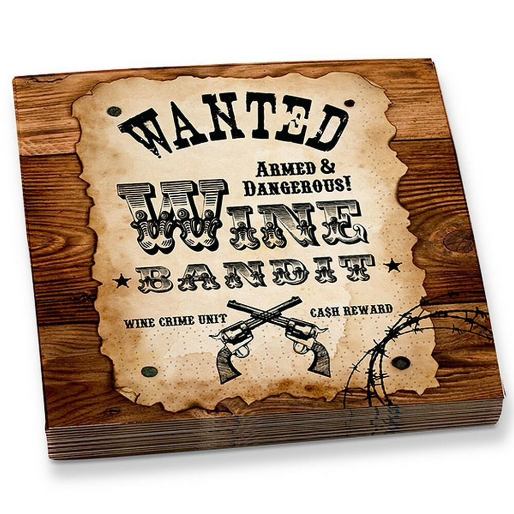 Western party quot wanted wine bandit quot wine beverage napkins cowboy