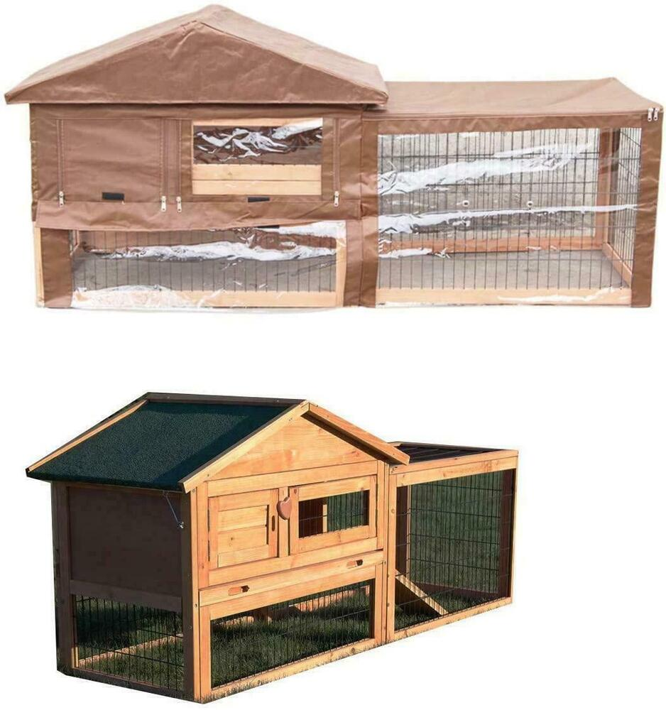 Two tier verona rabbit hutch with run wood house pet bunny for What is a rabbit hutch