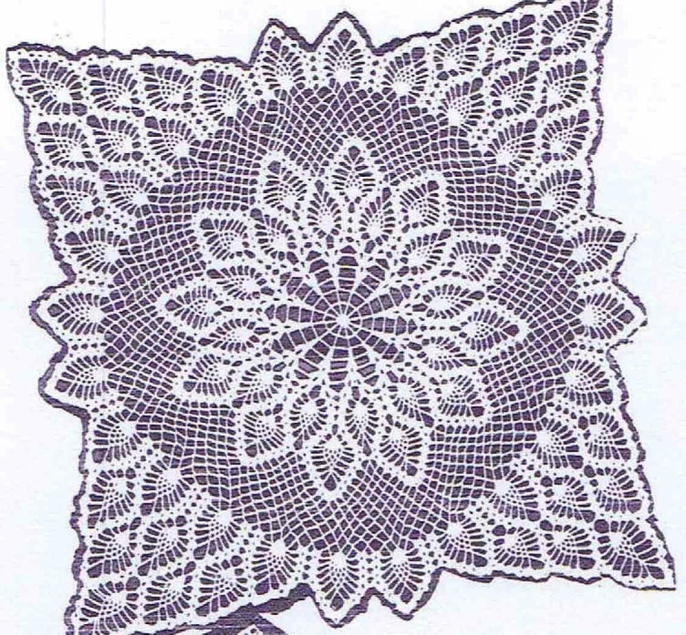 Vintage Crochet PATTERN 7277 TV Cover tablecoth scarf doily bedspread ...