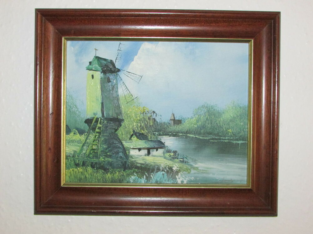 Vintage original oil painting on canvas board 39 39 watermill for What is canvas board
