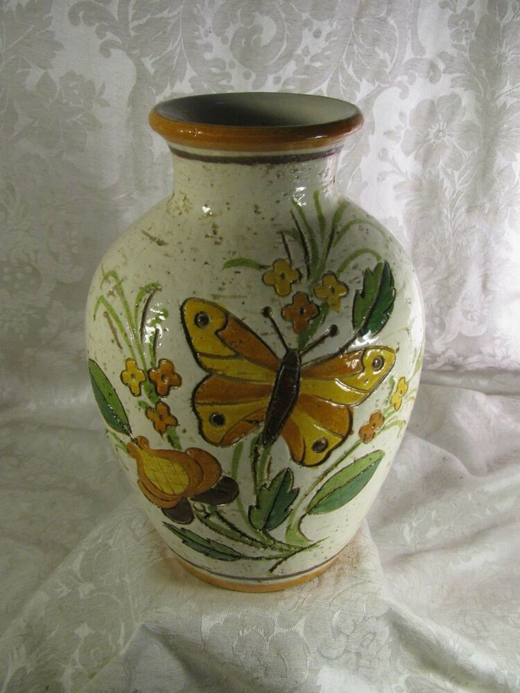Vintage Rosenthal Netter Vase Incised Flowers Butterfly Leaves Pottery Ebay