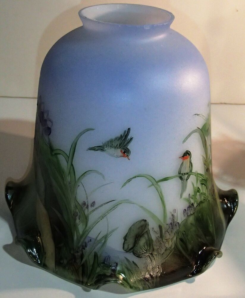 Hand Painted Lamp Shades: HAND PAINTED ART GLASS LAMP SHADE BLUE , BIRDS FLOWERS