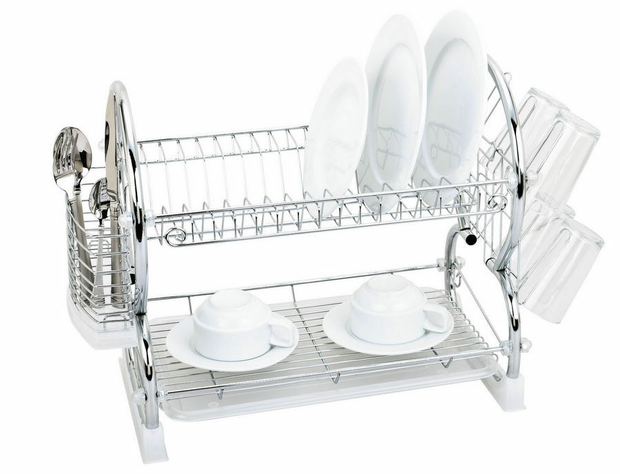 2 tier plates dish cutlery cup drainer rack drip with tray holder black chrome ebay. Black Bedroom Furniture Sets. Home Design Ideas