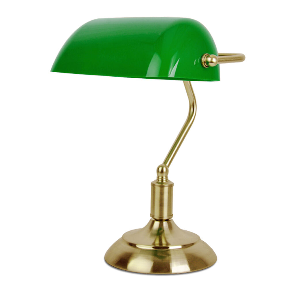 table desk lamp in antique brass green plastic light shade ebay. Black Bedroom Furniture Sets. Home Design Ideas