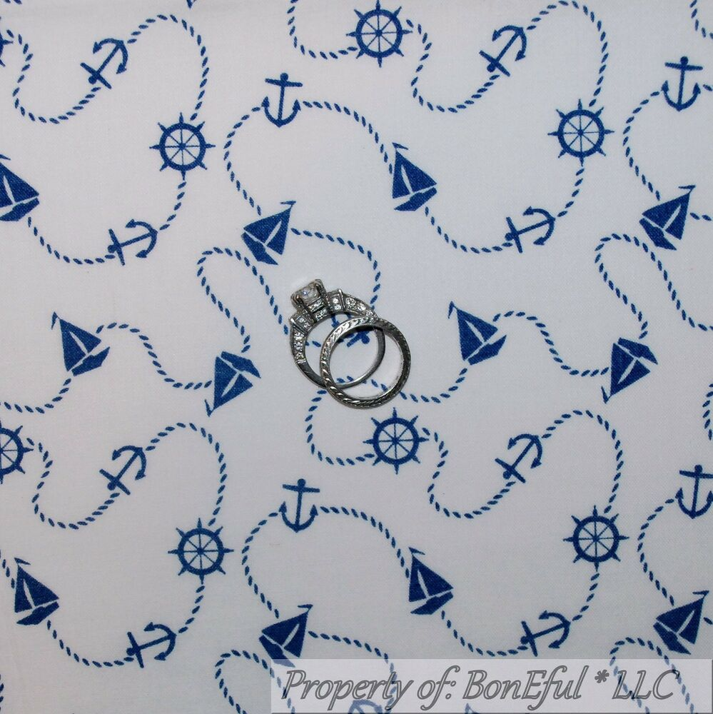 Boneful Fabric Bty Cotton Quilt Vtg White Blue Navy