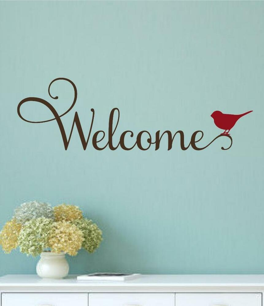 Welcome bird vinyl decal wall decor sticker words for Adhesive wall art letters