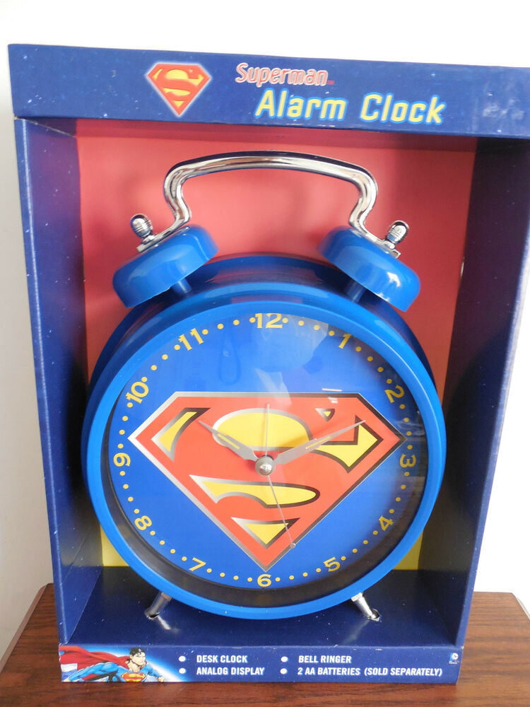 Superman Twin Bell Large Alarm Clock Dc Comics New In Box
