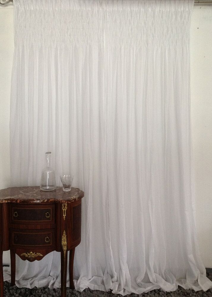 ... Chic Curtains Smocked Top Rod Pocket White 2X110X240CMLONG | eBay