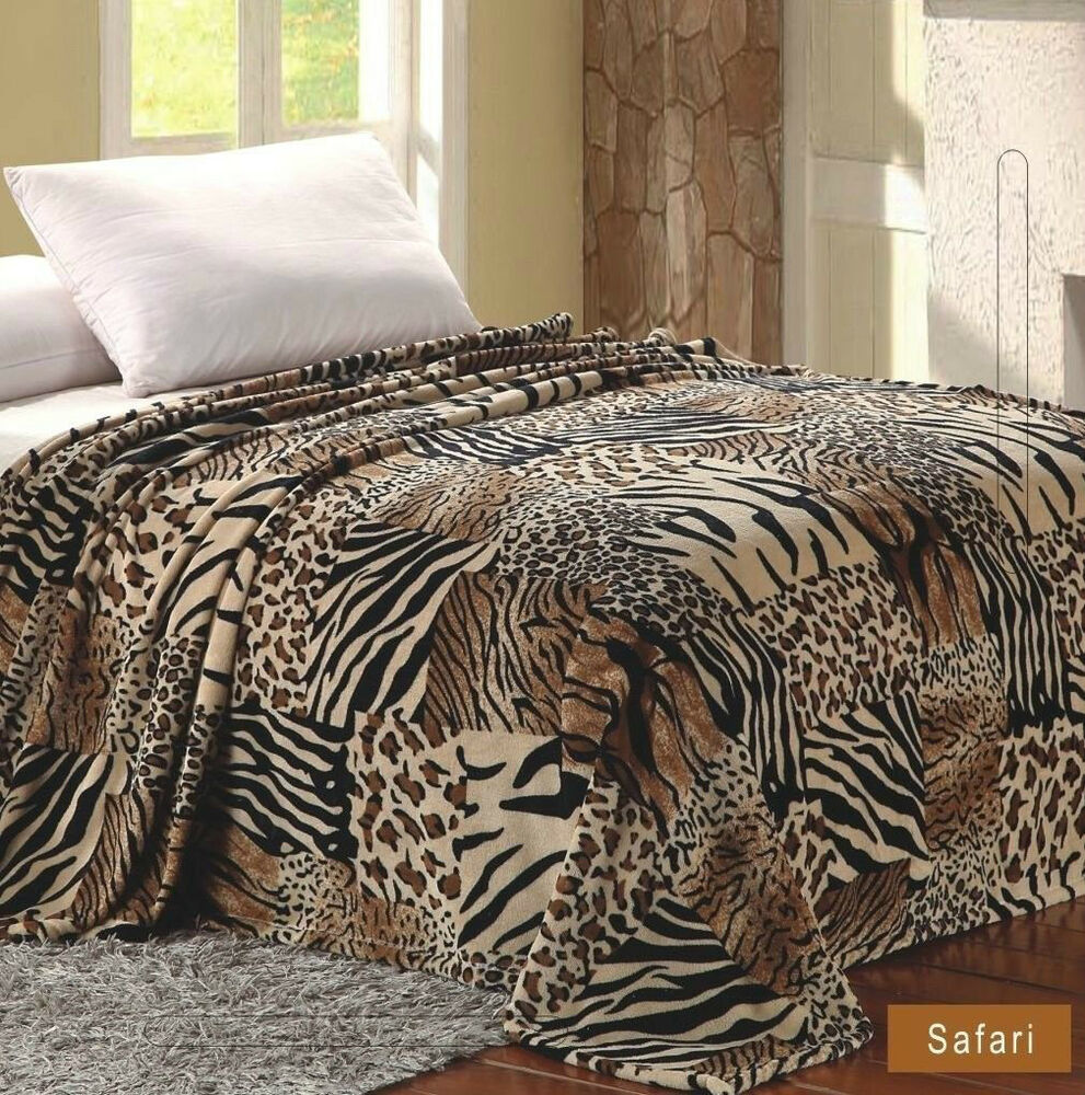 safari animal print blanket feel warm soft twin throw