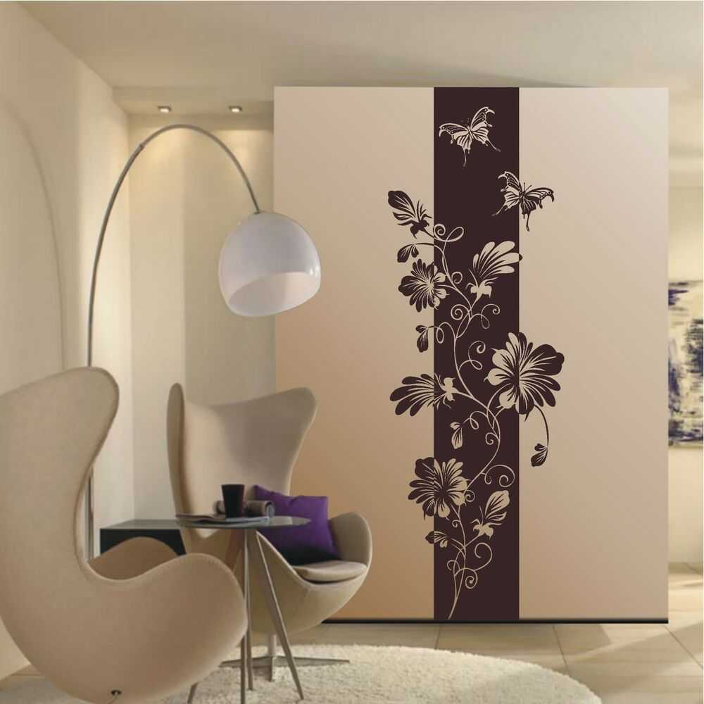 wandtattoo blumen ranke banner bl ten schmetterlinge motiv. Black Bedroom Furniture Sets. Home Design Ideas