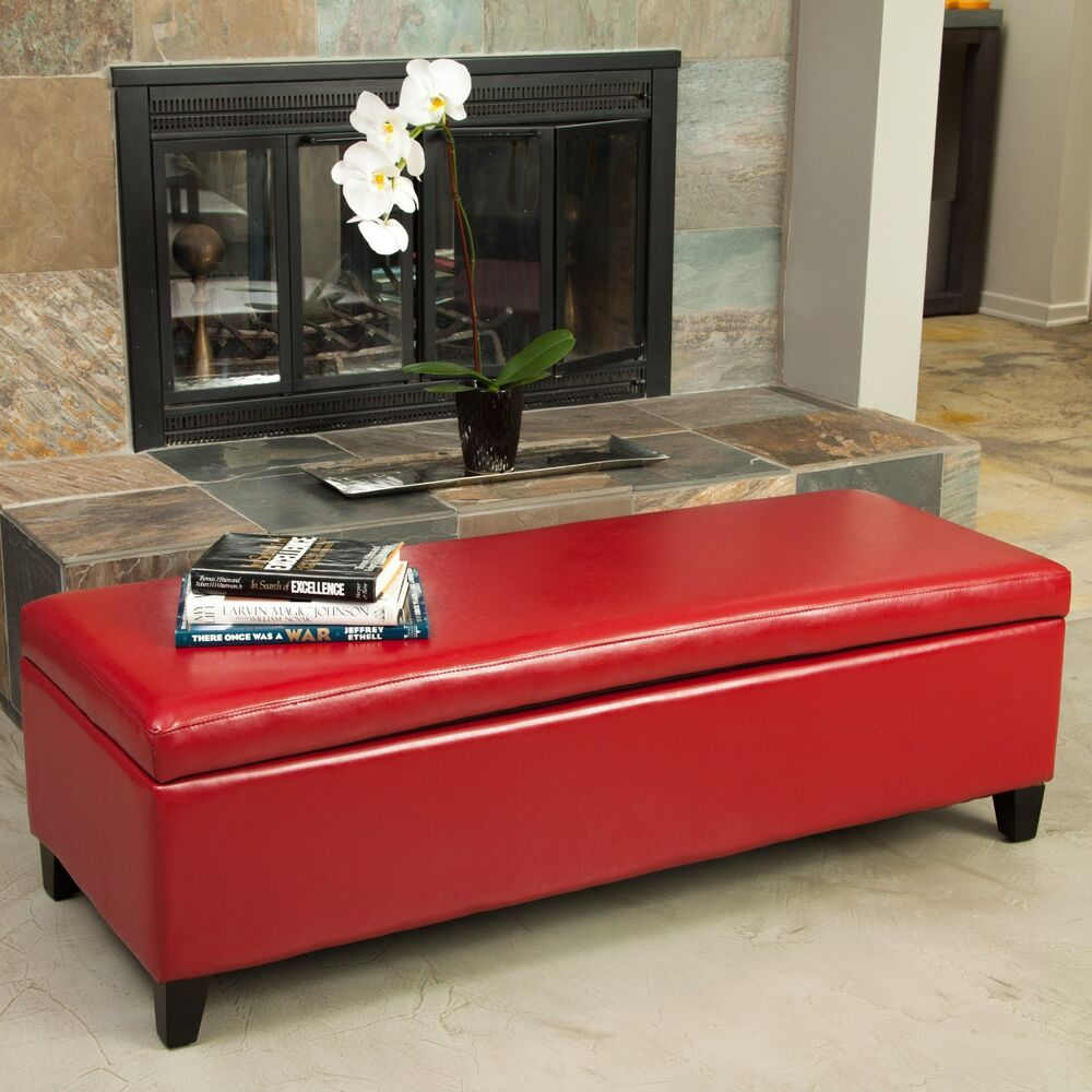 Elegant Sleek Design Red Leather Storage Ottoman Bench Ebay