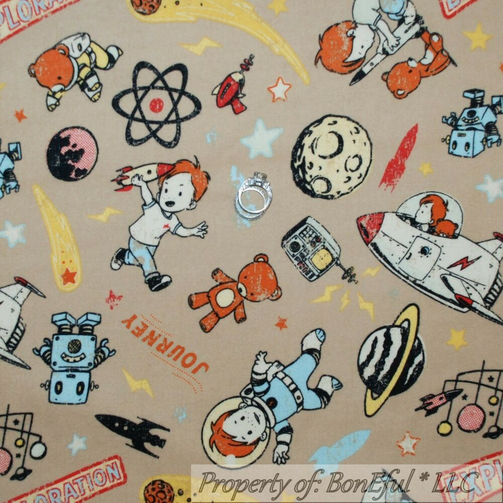 Boneful fabric fq flannel cotton quilt space rocket retro for Space flannel fabric