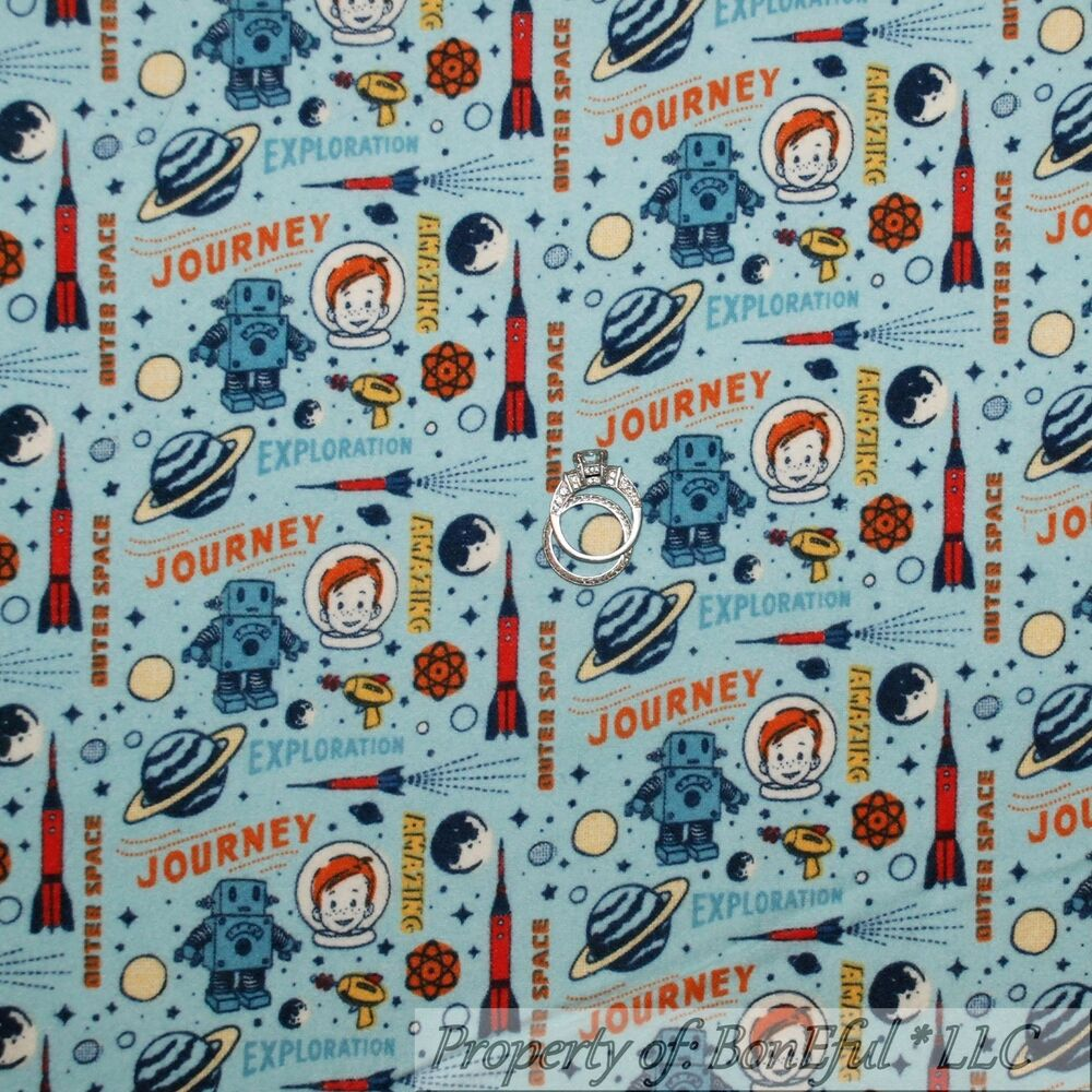 Boneful fabric fq flannel cotton quilt blue space rocket for Space fabric quilt