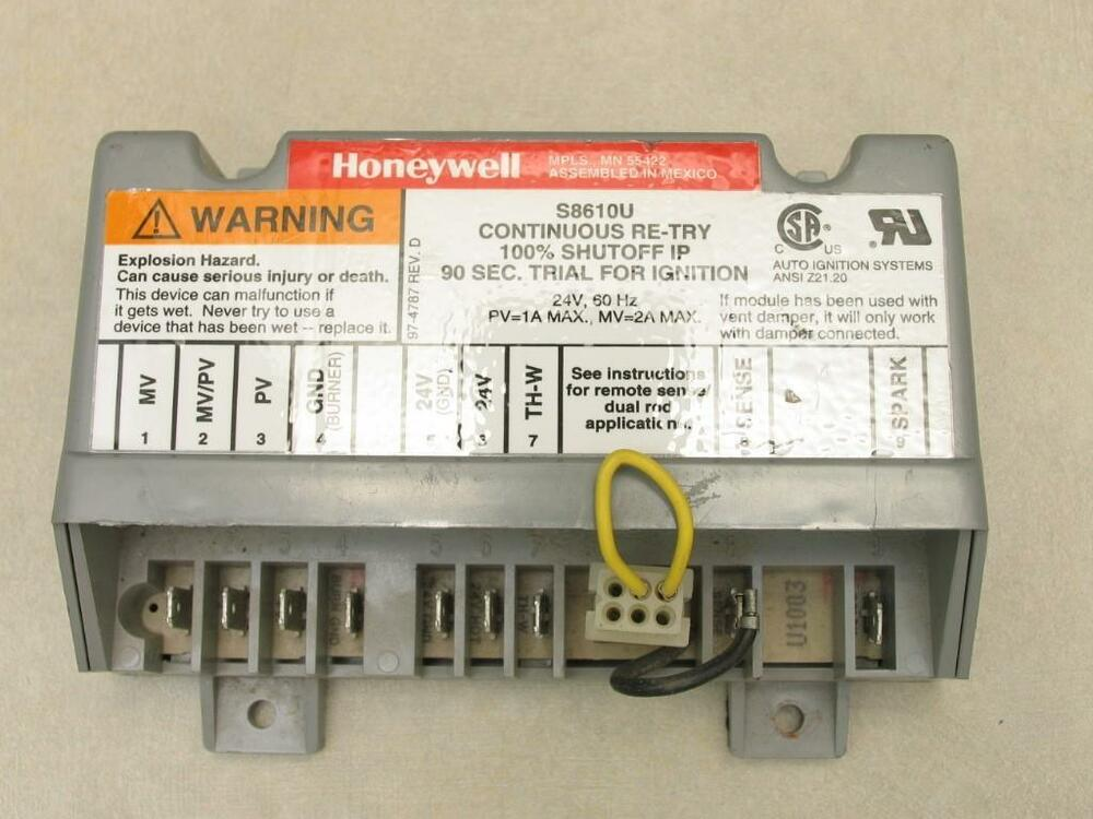 honeywell s8610u honeywell s8610u ignition control module continuous re try 100% shutoff ip