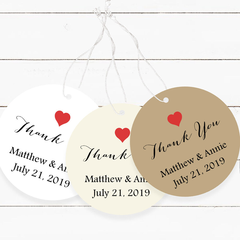 Round Wedding Gift Tags : Wedding Favor Tags, Round Favor Tags Red Heart Thank You Personalized ...