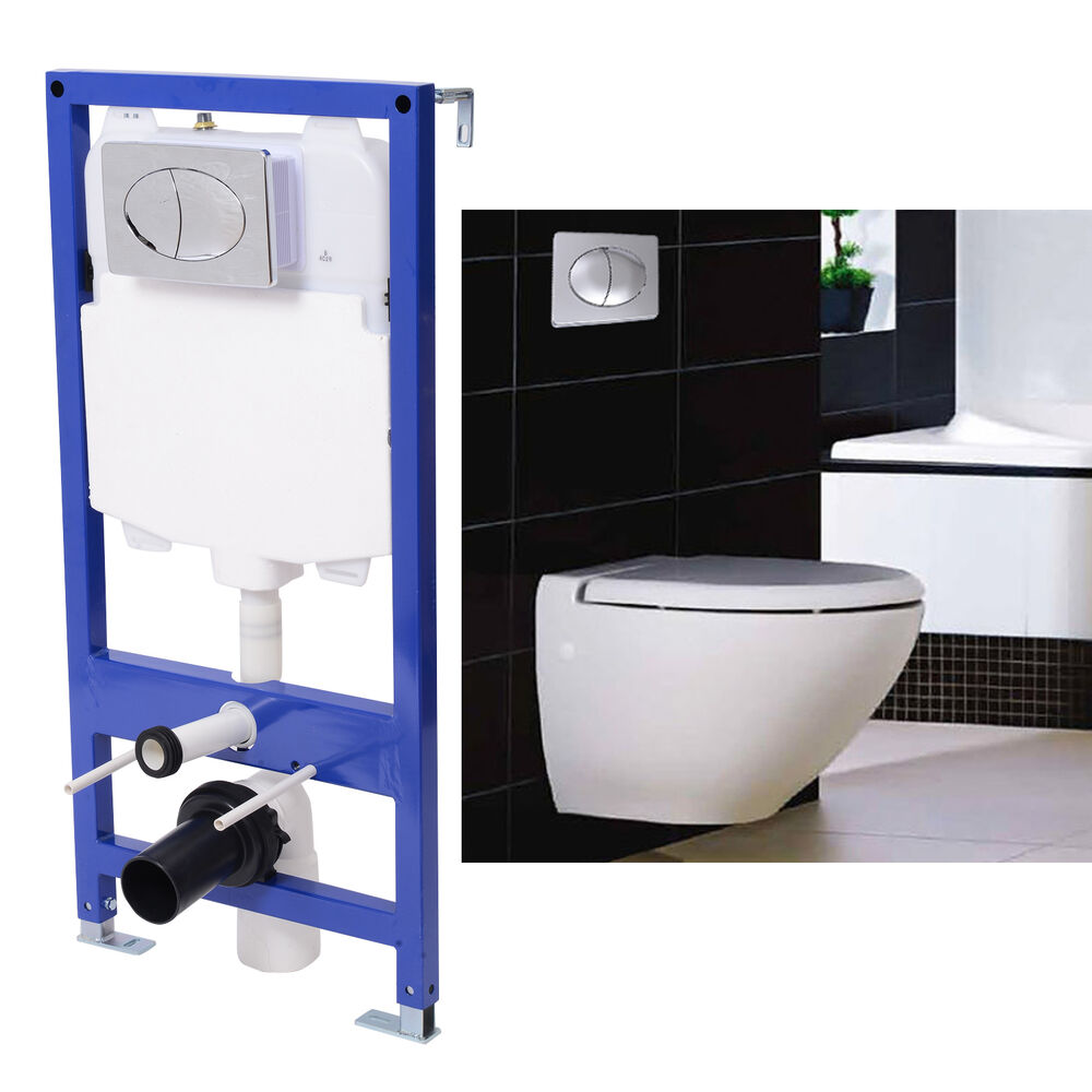 Homcom new concealed frame and cistern hung toilet wall for Flush with the wall
