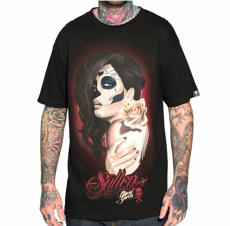 Tattoo Fixers Psychobilly Girl Punk: SULLEN CLOTHING MUERTA ROSE GIRL FACE SKULL SCARY PUNK