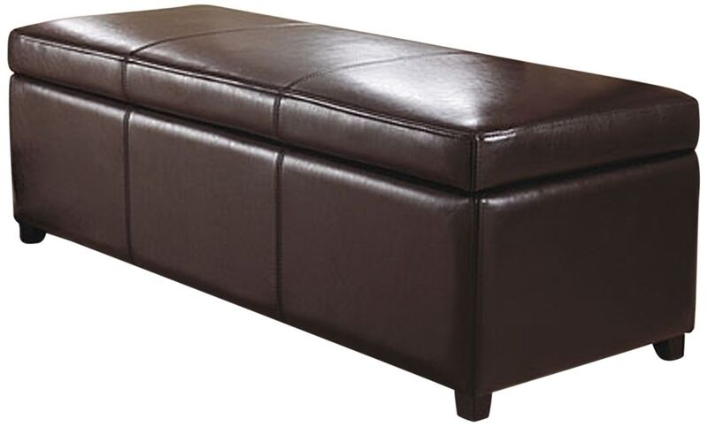 Simpli Homeavalon Large Rectangular Brown Faux Leather Storage Ottoman Bench New Ebay