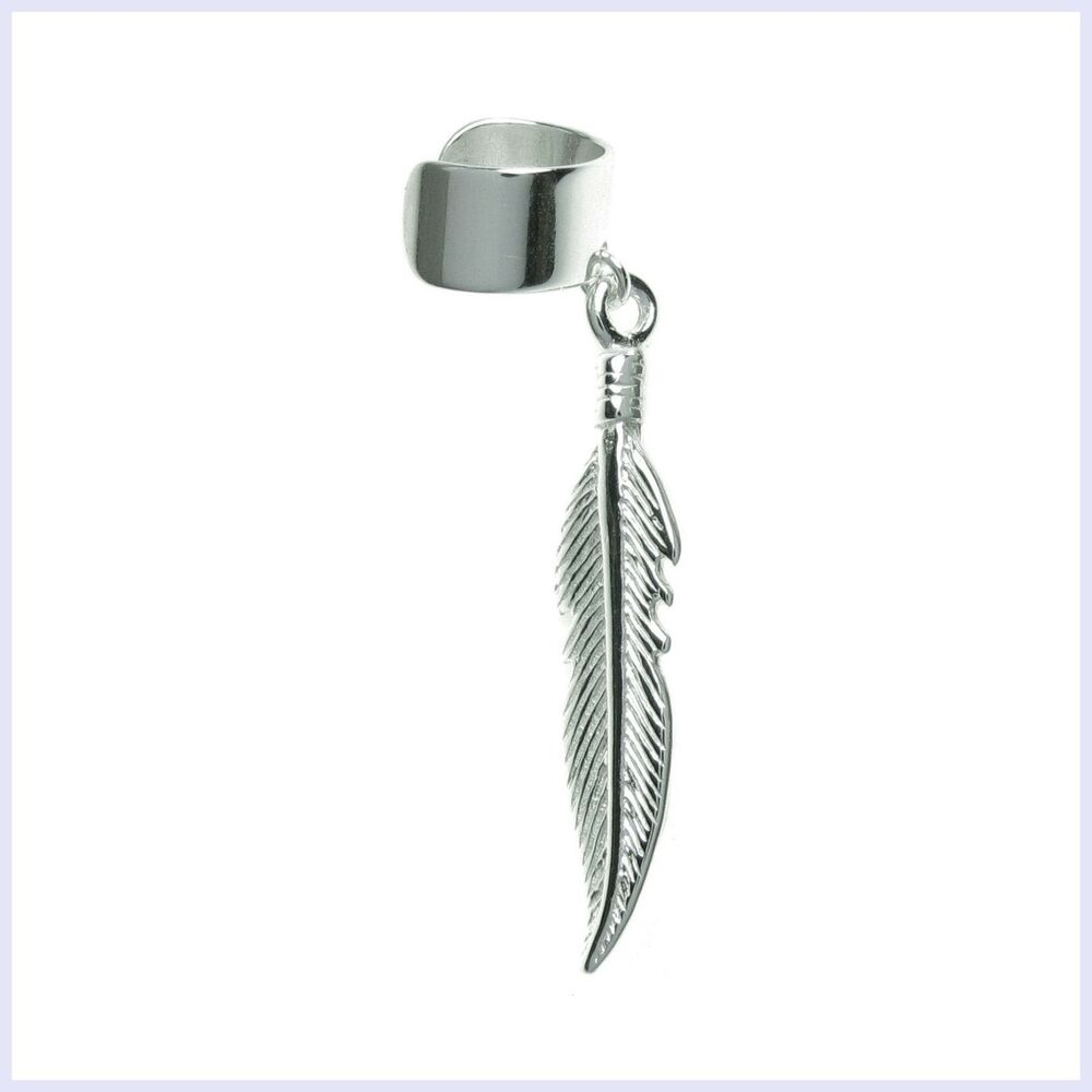 925 Sterling Silver Whimsical Feather Dangle Earring Cuff