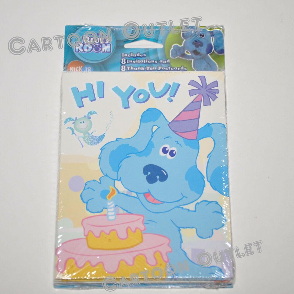 BLUES CLUES INVITATIONS 8 PC PARTY BIRTHDAY SUPPLY 8 THANK ...