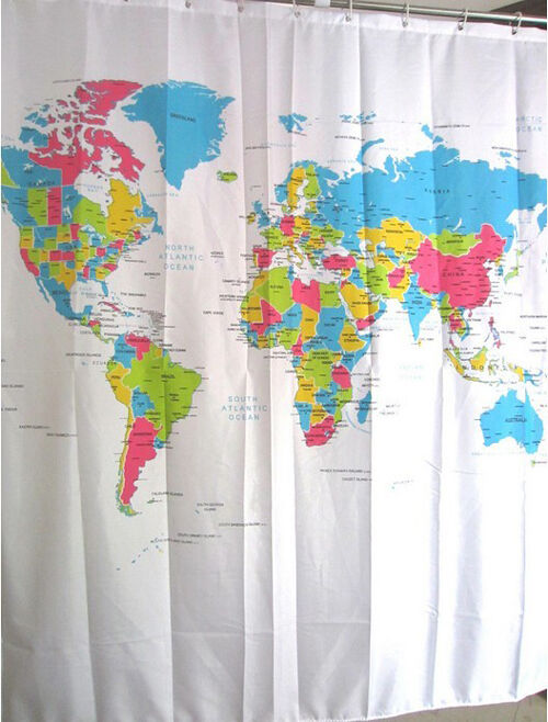 World Map Pattern Shower Curtain Bathroom Waterproof Fabric 12 Hooks ...