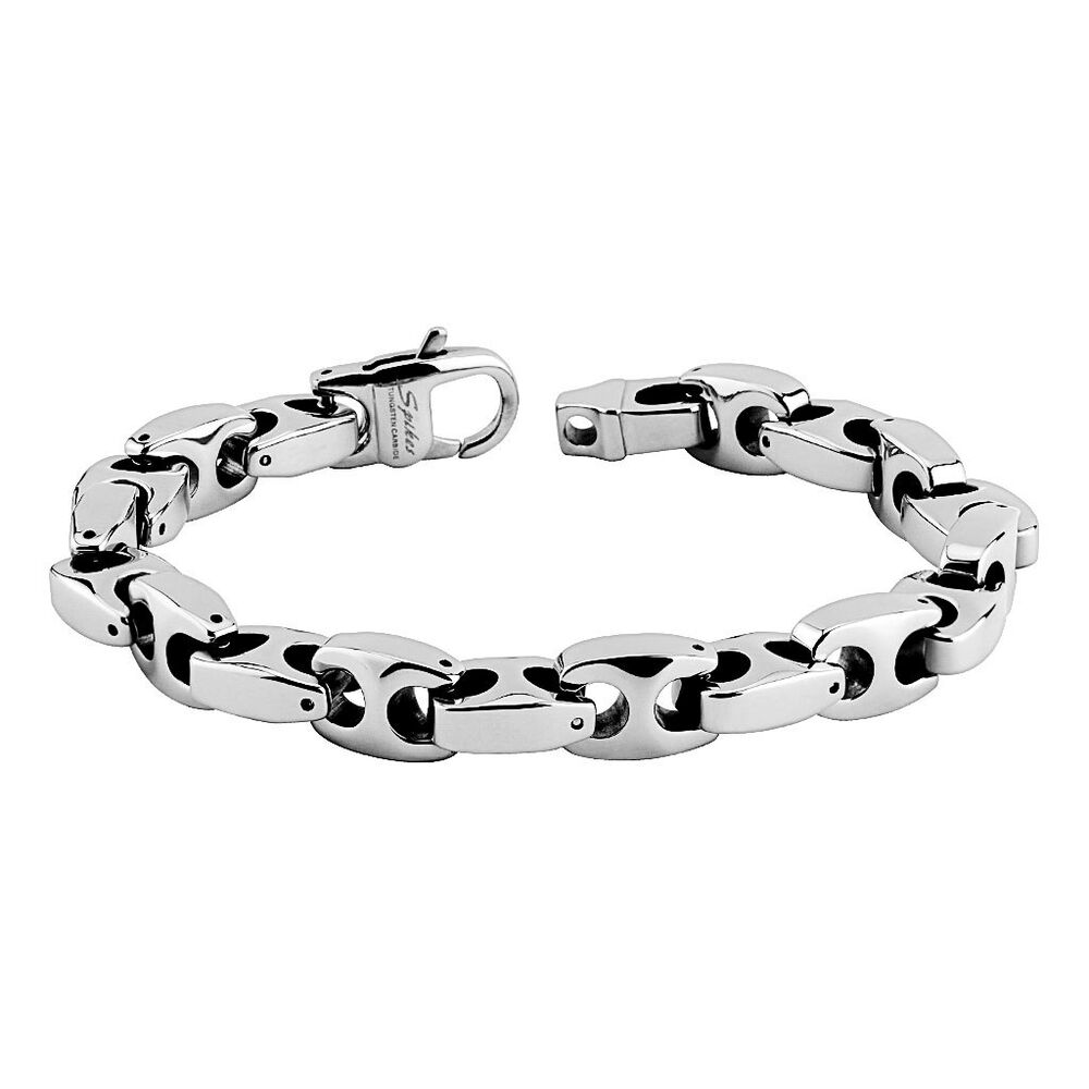 mens tungsten carbide chain bracelet 10mm anchor link. Black Bedroom Furniture Sets. Home Design Ideas