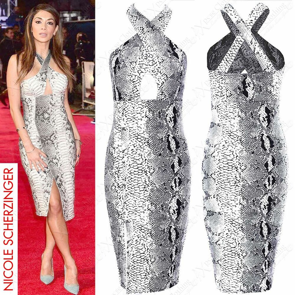 d7a4f150eb Details about NEW LADIES ANIMAL PRINT HALTERNECK MIDI DRESS WOMENS CELEB LOOK  BODYCON DRESSES