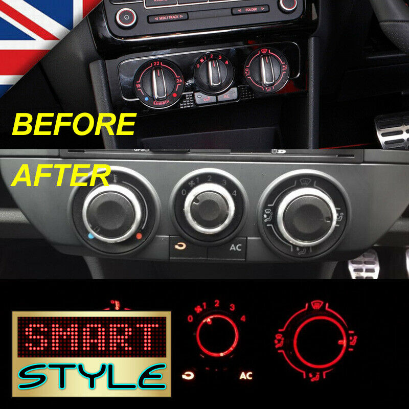 Smartstyle Aluminium Heater Dash Knobs Buttons For Vw Polo