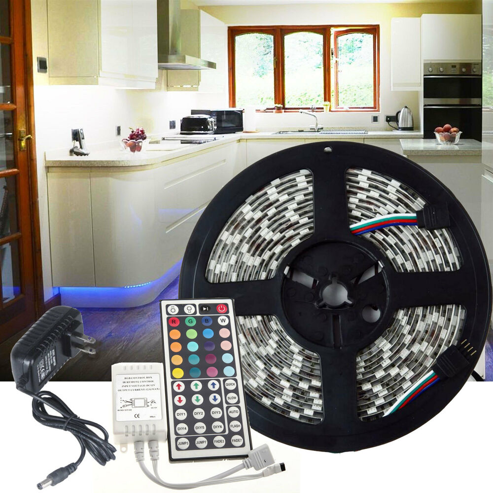 kitchen under cabinet led glow rgb light strip smd 5050 kit remote power ebay. Black Bedroom Furniture Sets. Home Design Ideas
