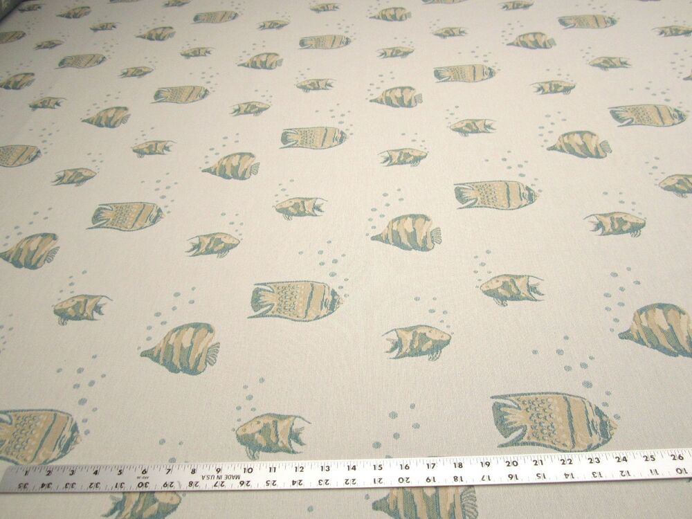 Tiny bubbles tropical fish themed upholstery fabric for Fishing themed fabric