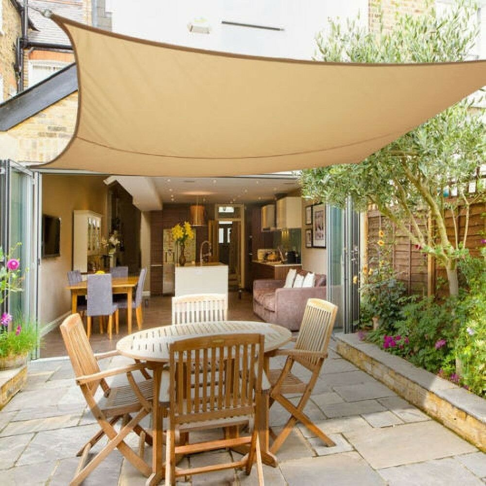 3m x 3m Sun Shade Sail Garden Patio Canopy Awning Screen ...