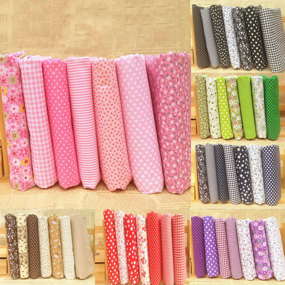 wholesale 7 pcs pre cut plain cotton quilt cloth fabric