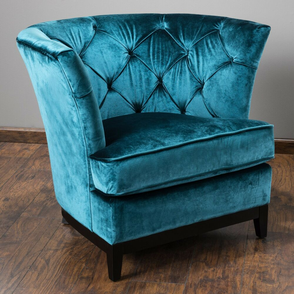 Living Room Furniture Teal Blue Tufted Velvet Round Sofa Arm Chair EBay